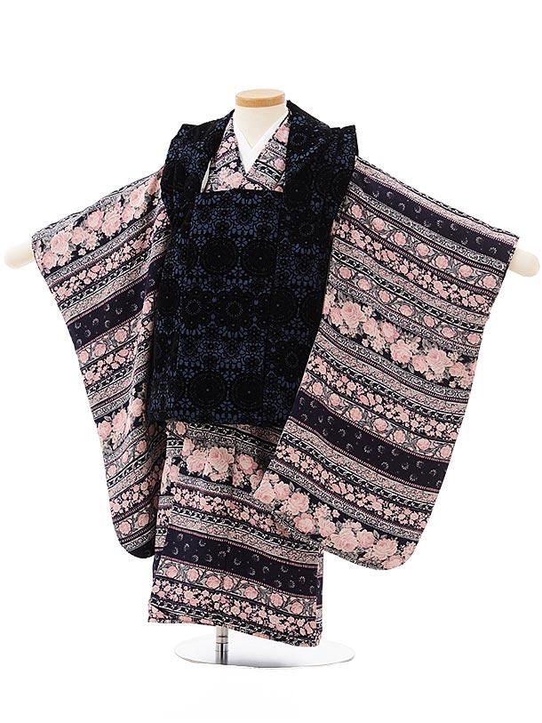 七五三レンタル(3歳女児被布)3820紺レース調×黒地ピンクバラ