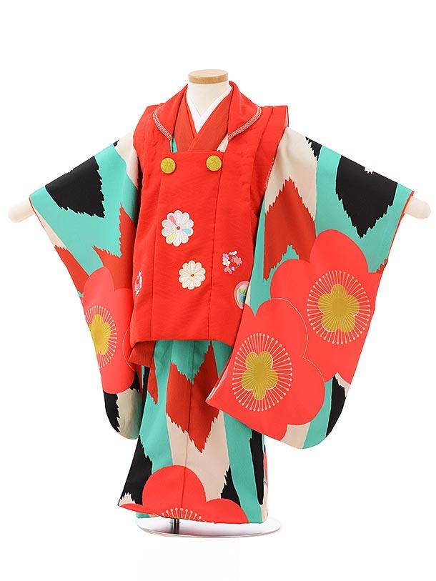 七五三レンタル(3歳女児被布)3824赤×ターコイズ地梅