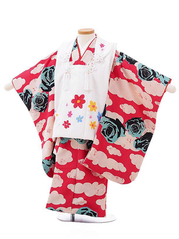 七五三レンタル(3歳女児被布)3825白×濃ピンク地雲バラ