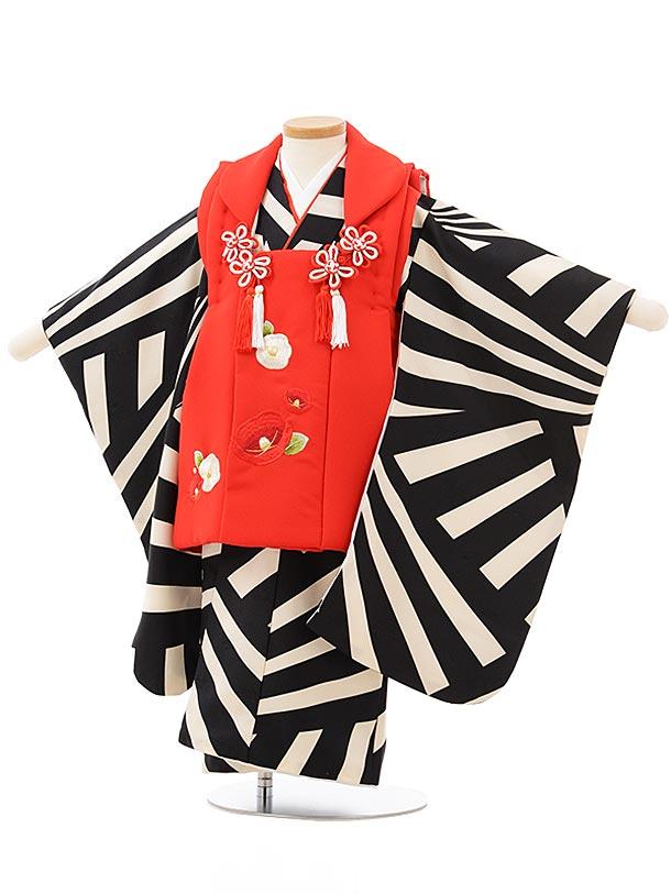 七五三レンタル(3歳女児被布)3828赤椿刺繍×黒白変わり柄