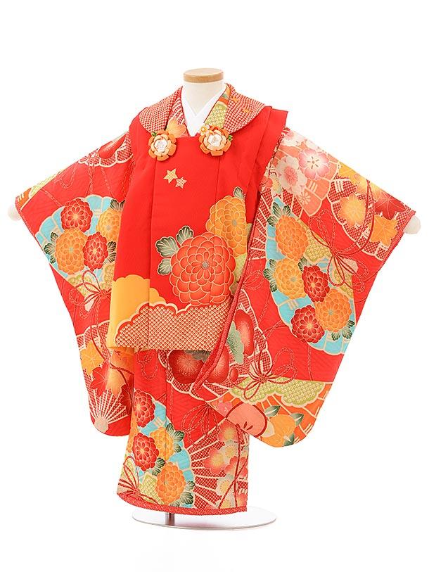 七五三レンタル(3歳女児被布)3830赤地菊×赤古典柄