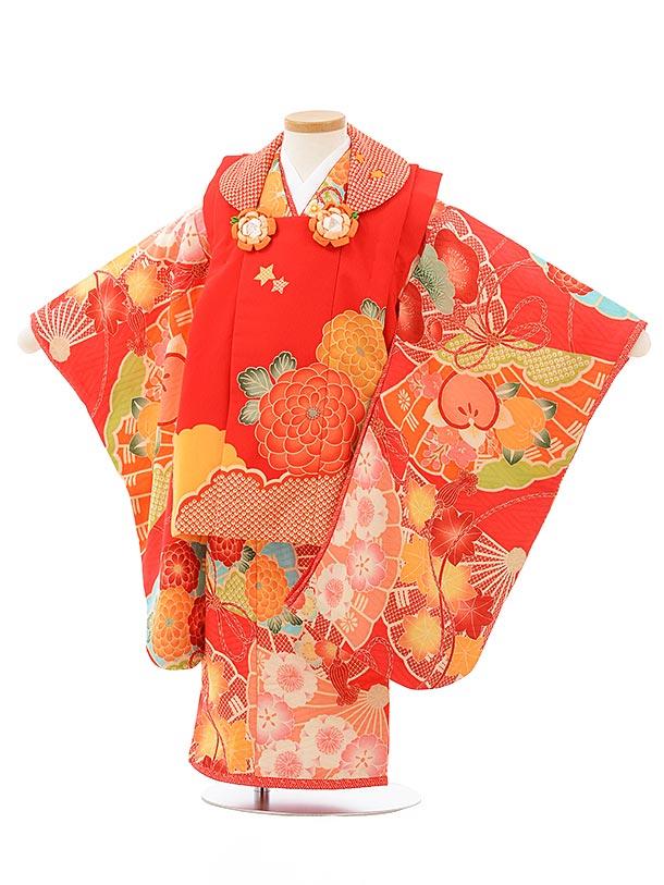 七五三レンタル(3歳女児被布)3831赤地菊×赤古典柄
