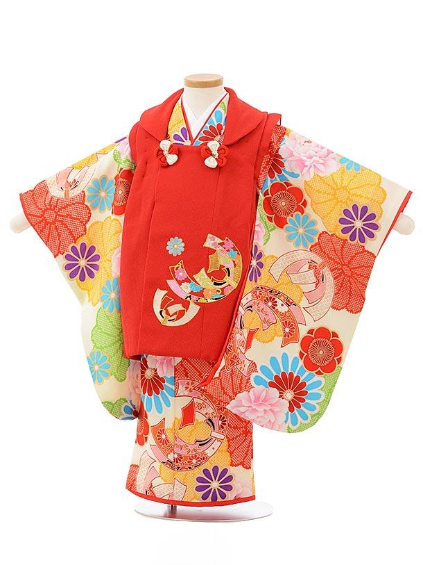 七五三レンタル(3歳女児被布)3833赤地束ね熨斗刺繍×クリーム地花