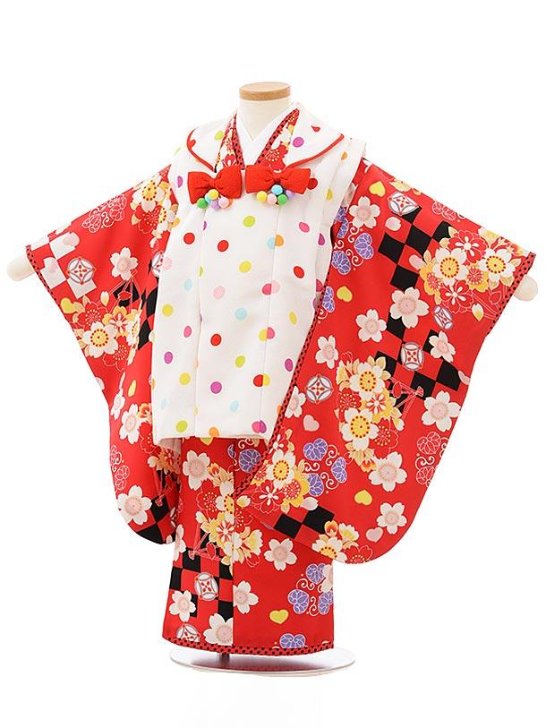 七五三レンタル(3歳女児被布)3834白地カラフルドット×赤市松桜