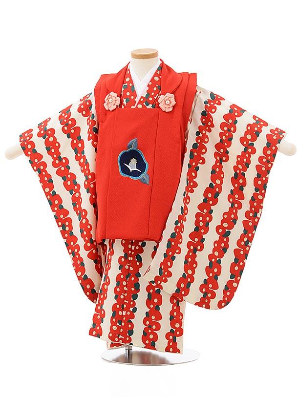 七五三レンタル(3歳女児被布)3835赤×白地赤椿
