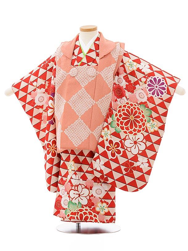 七五三(3歳女被布)3838 ピンク×赤地鱗文様菊