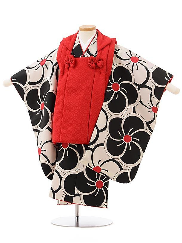 七五三(3歳女被布)3843 赤×黒白ねじり梅