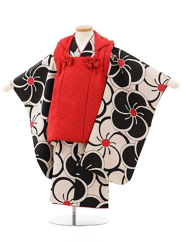 七五三(3歳女被布)3844 赤×黒白ねじり梅