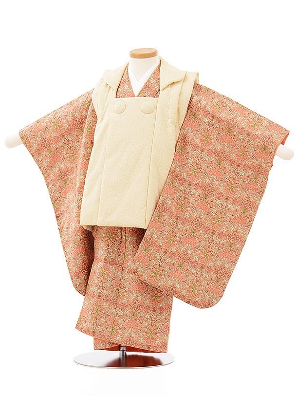 七五三(3歳女児被布)3856 ベージュ小花×オレンジ草花