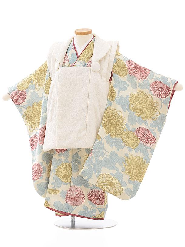 七五三レンタル(3歳女児被布)3862オフホワイトレース調×クリーム色乱菊