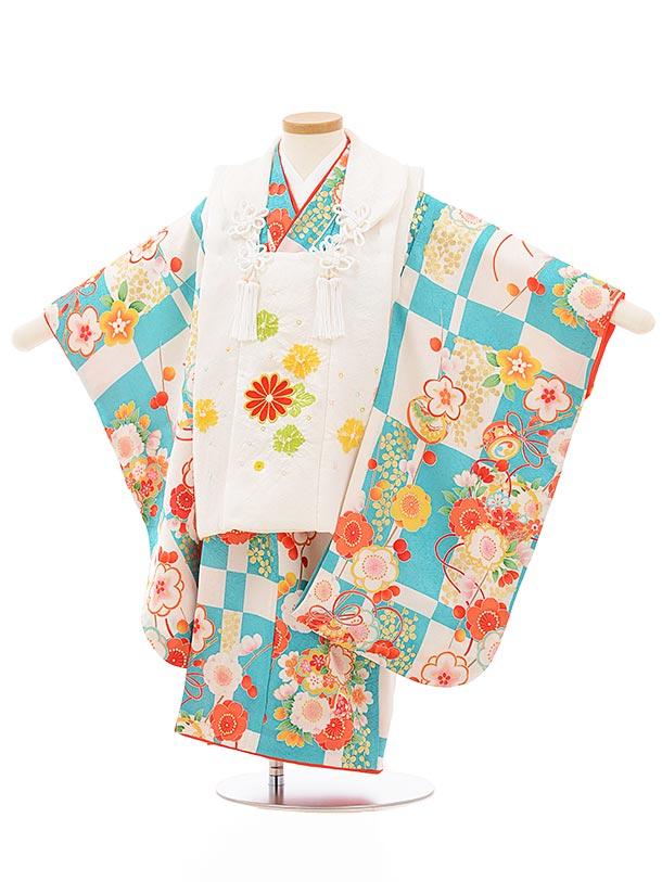 七五三レンタル(3歳女児被布)正絹 3866白菊xターコイズ市松花