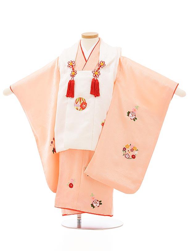 七五三レンタル(3歳女児被布)正絹 3867式部浪漫 白xピンク刺繍花