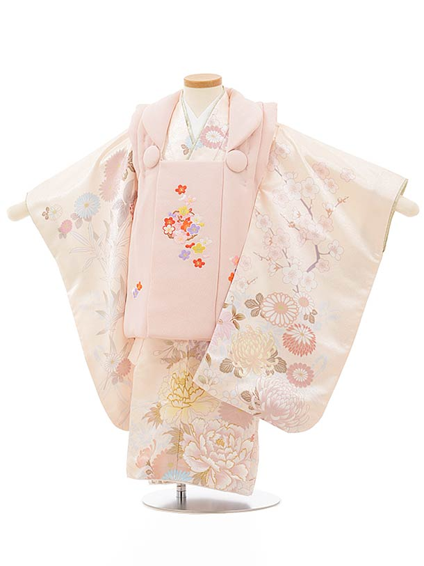 七五三レンタル(3歳女児被布)3871薄ピンク刺繍梅xクリーム色花