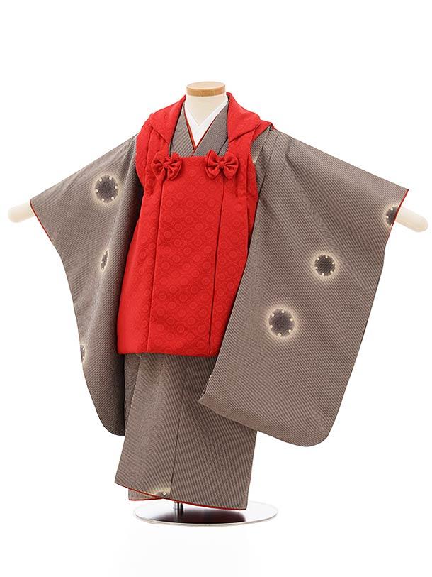 七五三レンタル(3歳女児被布)3875赤x黒ピンクストライプ雪輪