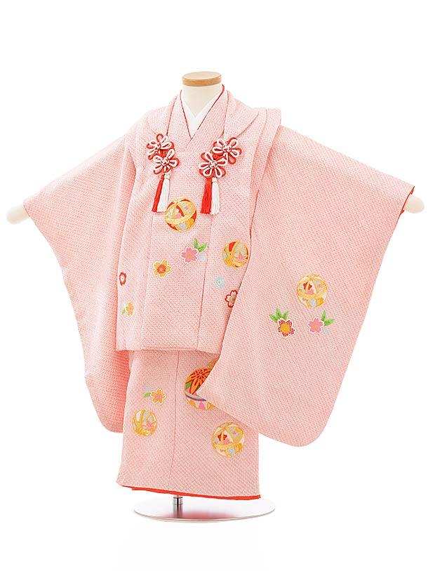七五三レンタル(3歳女児被布)正絹 3885ピンク地絞り桜鞠刺繍