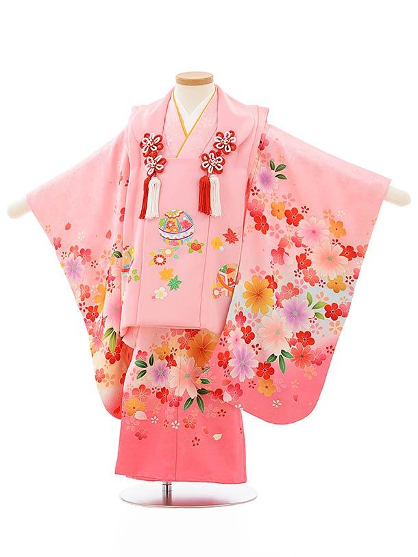 七五三レンタル(3歳女児被布)正絹 3888ピンク地鞠xピンク花