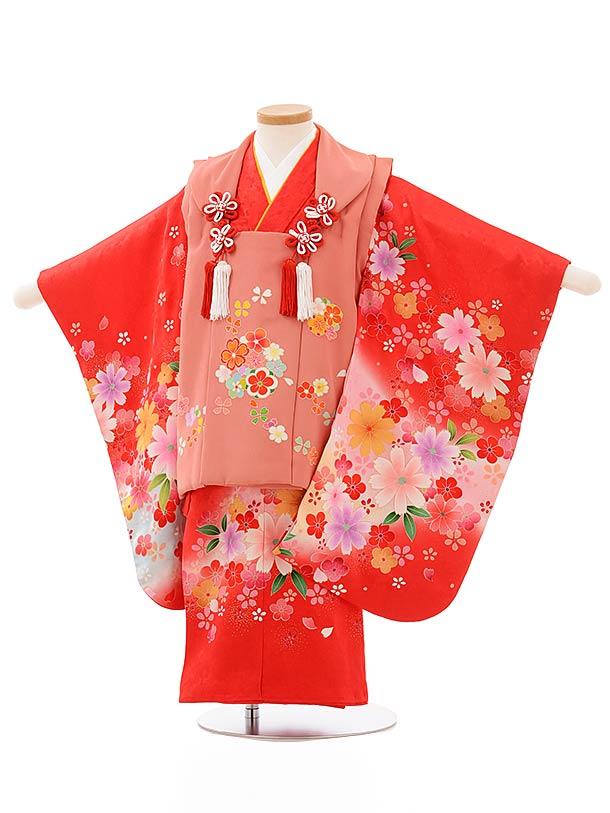 七五三レンタル(3歳女児被布)正絹 3890レトロローズ色花x赤花
