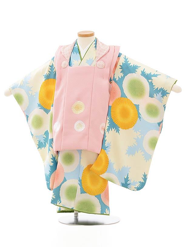 七五三レンタル(3歳女児被布)3894ピンク地花刺繍xブルー系に花