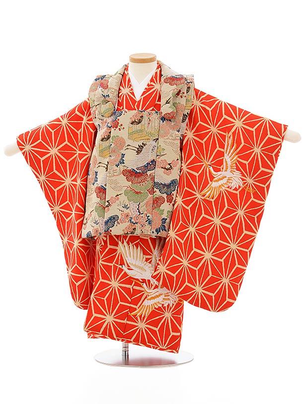 七五三レンタル(3歳女児被布)3895ベージュレトロ調x赤麻の葉鶴刺繍