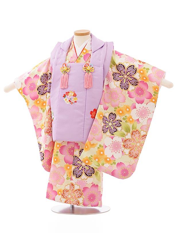 七五三レンタル(3歳女児被布)3900藤色刺繍桜xうぐいす色桜