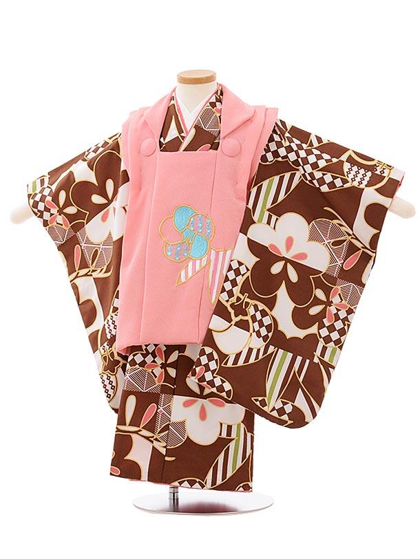 七五三レンタル(3歳女児被布)3904花わらべ ピンクxチョコレート色モダン梅