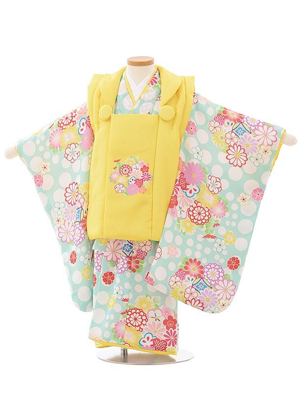 七五三レンタル(3歳女児被布)3911黄色花xパステルグリーンドット花