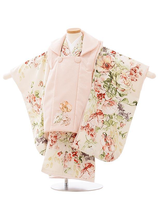 七五三(3歳女児被布)3919 SUGARKEI  薄ピンクxクリーム色ポピー