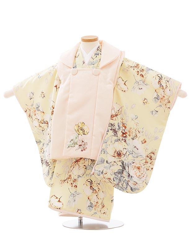 七五三(3歳女児被布)3920 SUGARKEI  薄ピンクxうす黄色ポピー