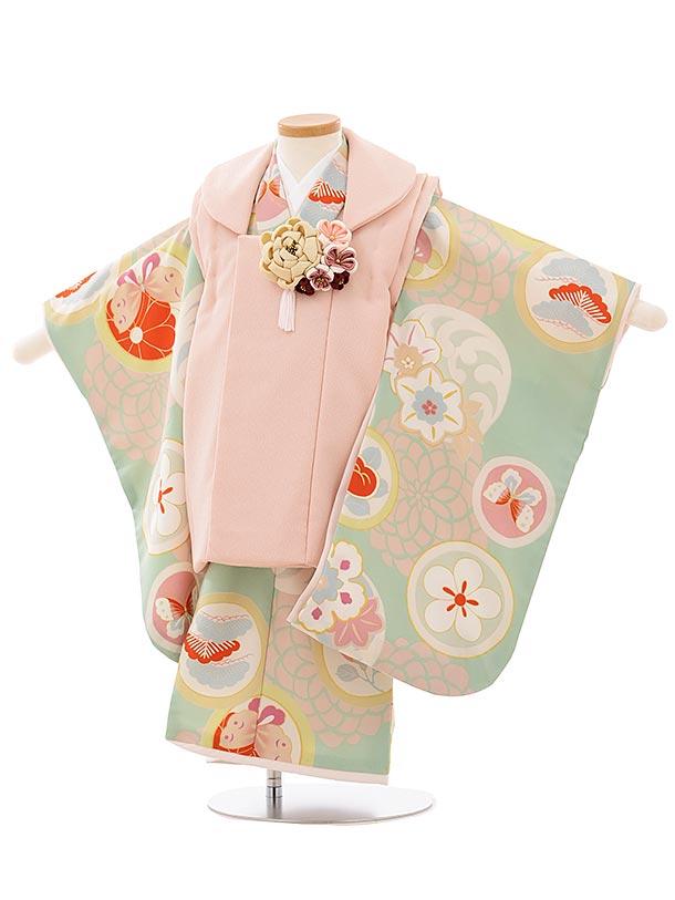 七五三レンタル(3歳女児被布)3921プチプリ ピンクxパステルグリーン丸紋