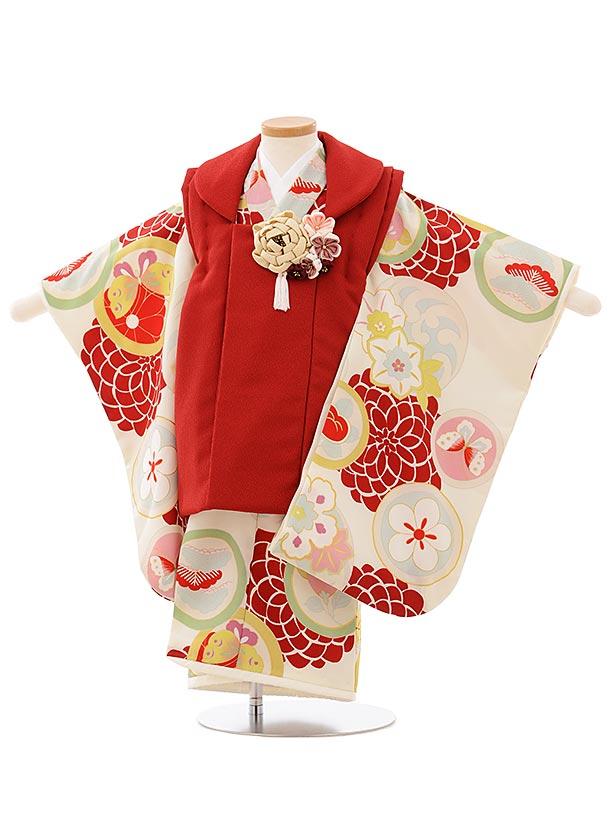 七五三レンタル(3歳女児被布)3922プチプリ エンジxクリーム色丸紋