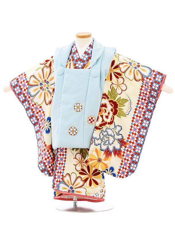 七五三レンタル(3歳女児被布)3928ラフィネココ 水色xクリーム色花