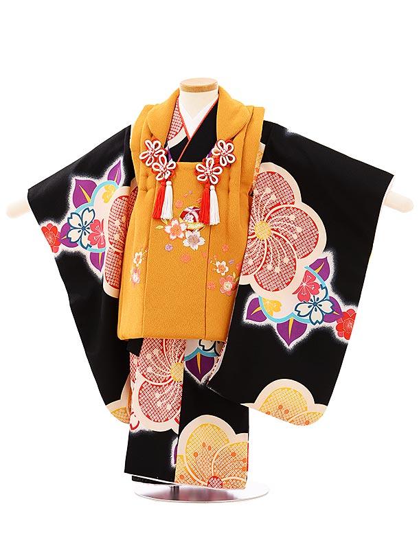 七五三レンタル(3歳女児被布)3935からし色刺繍桜x黒地ねじり梅