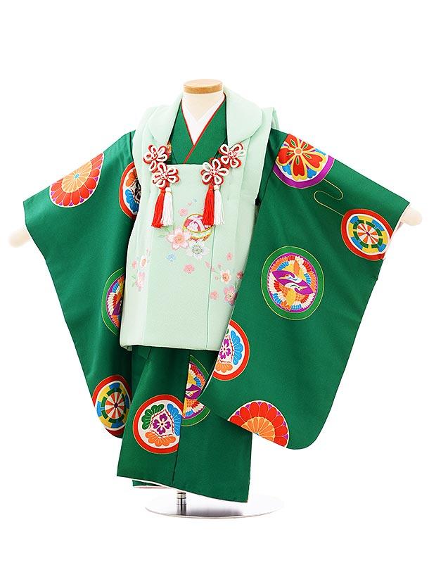 七五三レンタル(3歳女児被布)3936パステルグリーン刺繍桜xグリーン丸紋