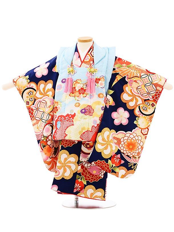 七五三レンタル(3歳女児被布)3937水色桜x紺地菊