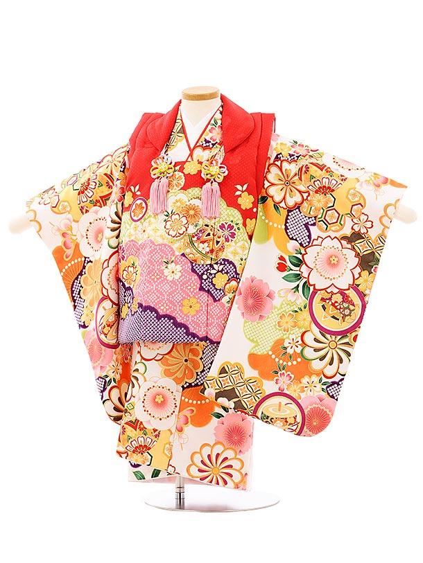 七五三レンタル(3歳女児被布)3941赤地雲取りまりx白地梅桜丸紋