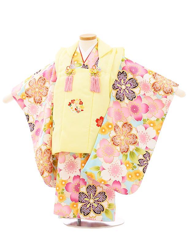 七五三レンタル(3歳女児被布)3943うす黄色刺繍梅桜x水色桜