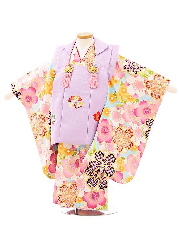 七五三レンタル(3歳女児被布)3944パープル刺繍梅桜x水色桜