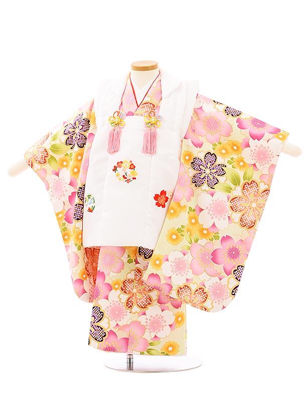 七五三レンタル(3歳女児被布)3945白地刺繍梅桜xうすグリーン桜