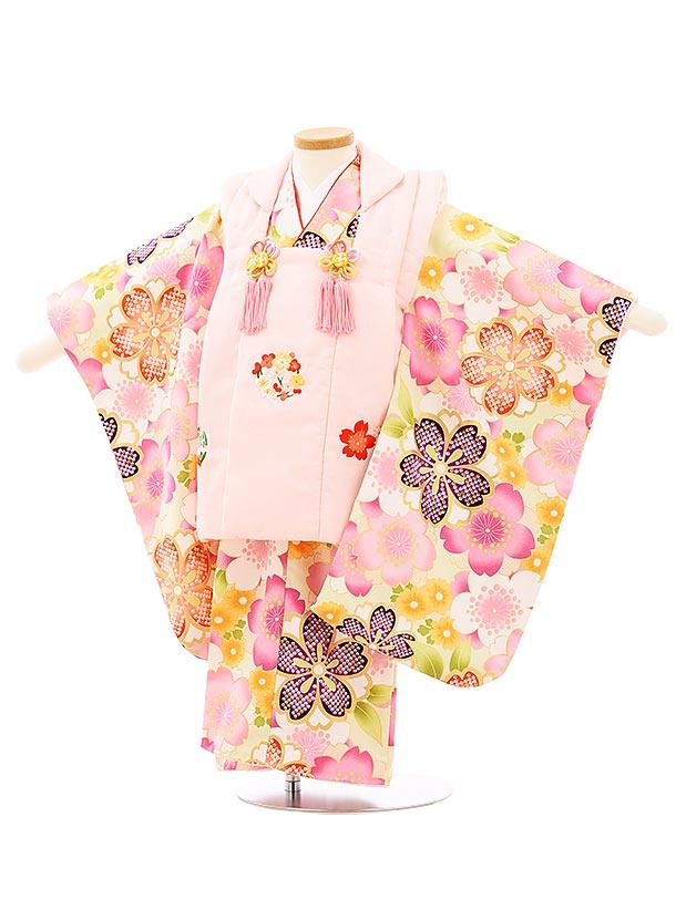 七五三レンタル(3歳女児被布)3946ピンク刺繍梅桜xうすグリーン桜