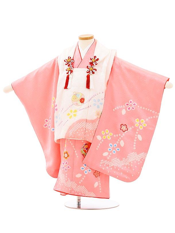 七五三(3歳女児被布)正絹3947白刺繍鈴xピンク刺繍まり桜