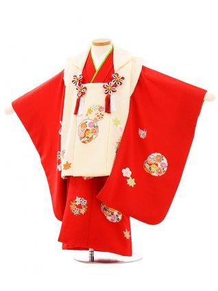 七五三(3歳女児被布)高級正絹 3948アイボリ