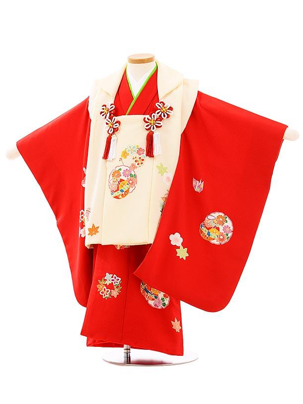 七五三(3歳女児被布)高級正絹 3948アイボリーx赤雪輪に鈴