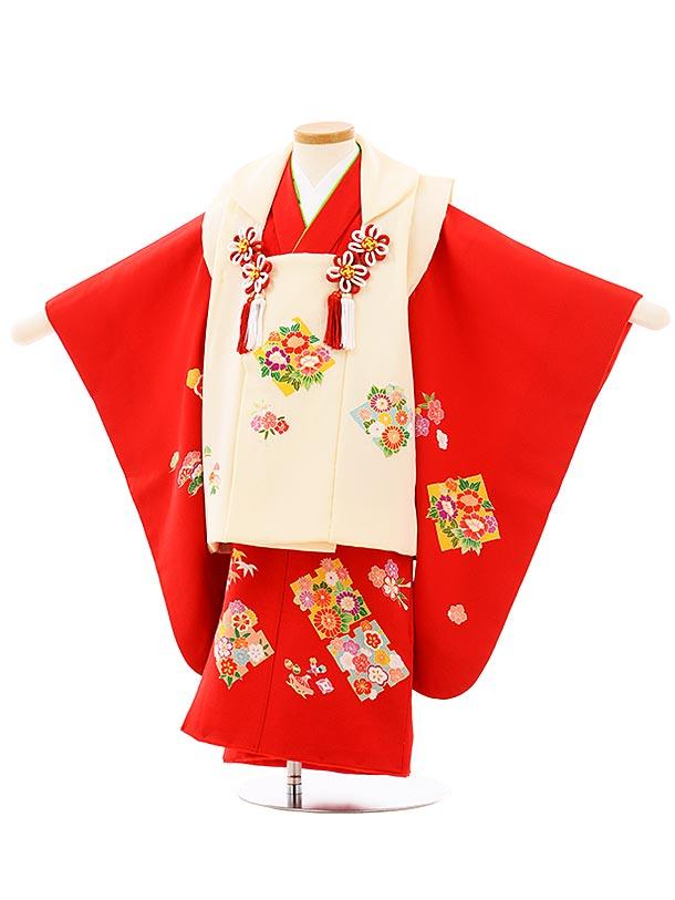 七五三(3歳女児被布)高級正絹 3949アイボリーx赤四季花