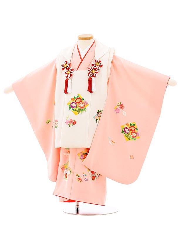 七五三(3歳女児被布)高級正絹 3950白xピンク四季花