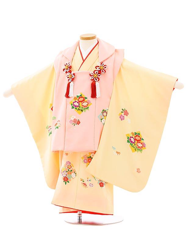 七五三(3歳女児被布)高級正絹 3951ピンクxクリーム色四季花