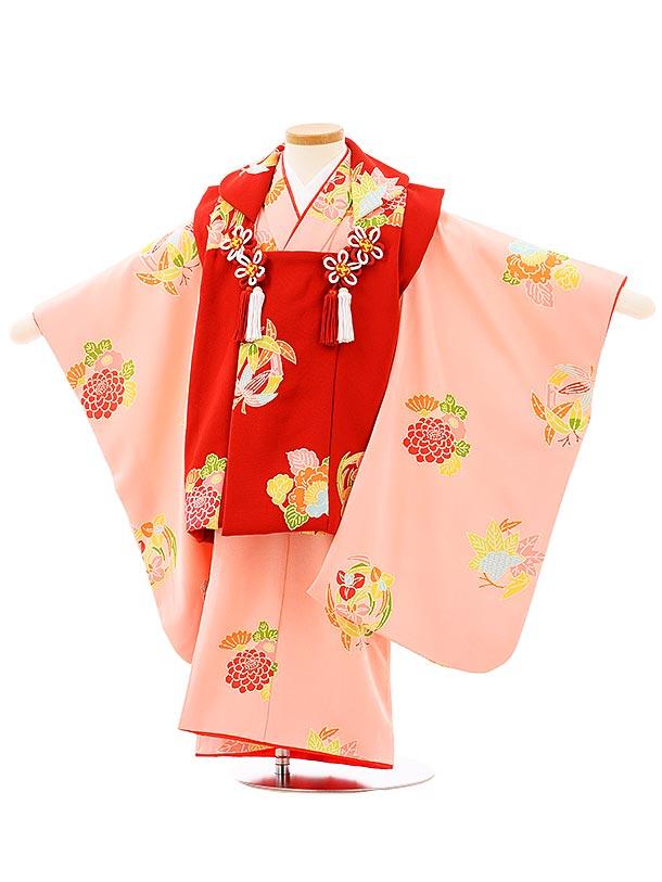 七五三(3歳女児被布)高級正絹 3952赤xピンク花丸文
