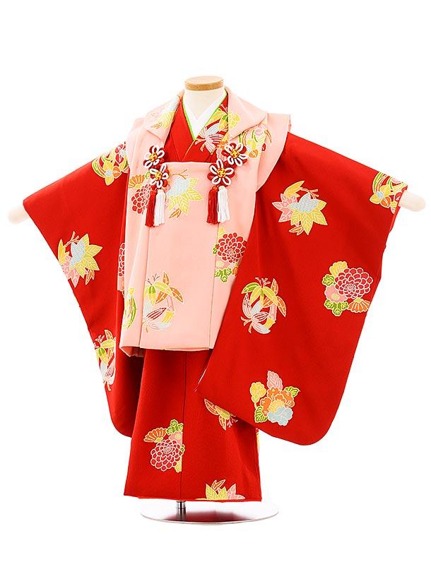 七五三(3歳女児被布)高級正絹 3953ピンクx赤花丸文