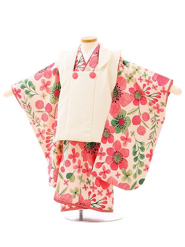 七五三レンタル(3歳女児被布)3958白x白地ピンク大花