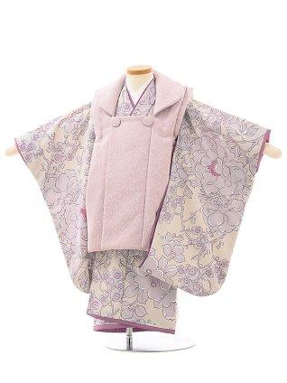 七五三レンタル(3歳女児被布)3959九重 パープルxパープル疋田に華づくし