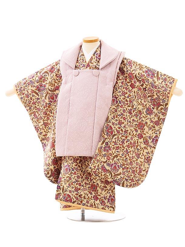 七五三レンタル(3歳女児被布)3963パープルxベージュ更紗模様